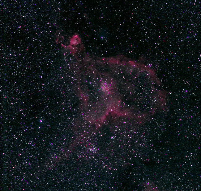 IC1805 - Heart neb; mag 6.5; size 20x20'; 40-min (90sec subs); 60Da; ISO3200; Canon 200mm lens @f/4; 9-5-13; Cherry Springs