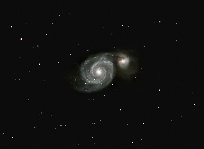 M51; mag 8.9; size 9.8x6.8'; exp 45-min(90s subs); 60Da @ISO3200; C8 @f/5.1; guided - 50mm; 5-25-14; Steelmantown
